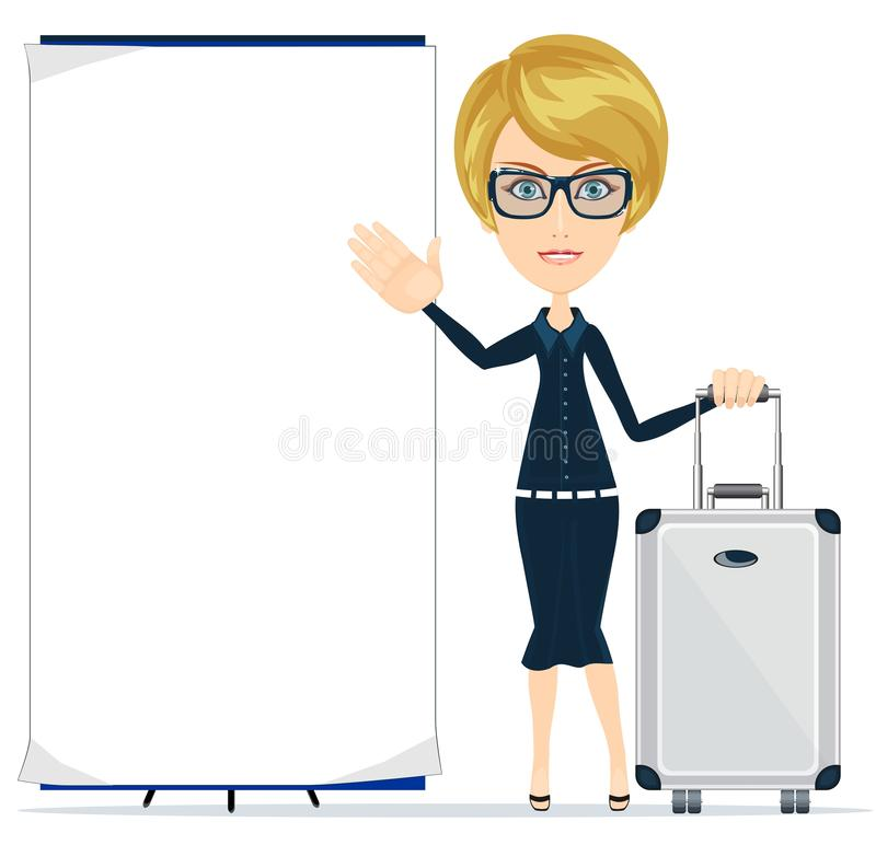 Young happy woman standing with suitcase and blank board royalty free illustration