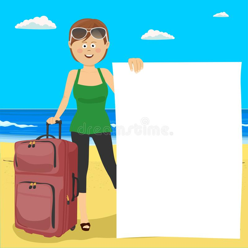 Young happy woman standing at the tropical beach with suitcase and blank board stock illustration