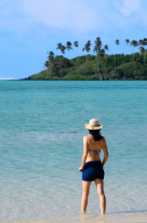 Download Young Happy Woman On Vacation In Pacific Island Stock Image - Image: 34196495