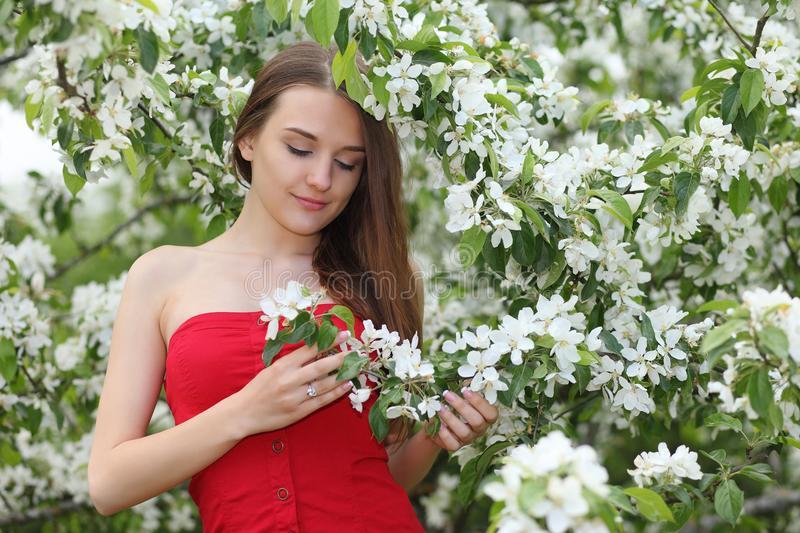 Young happy woman walking royalty free stock image