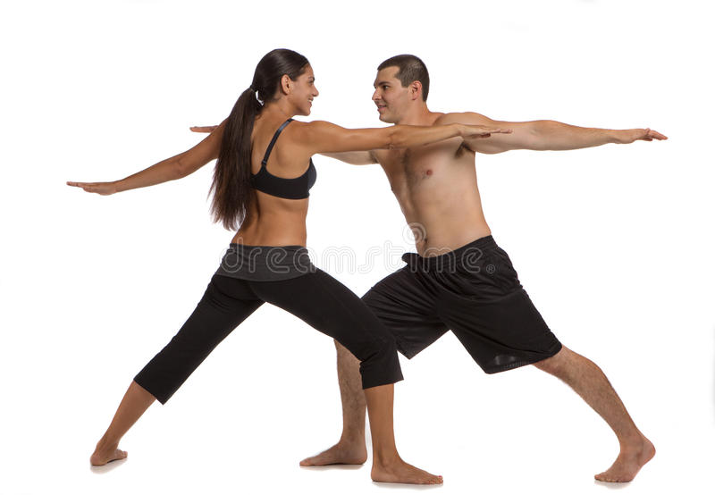 Young Healthy Couple Workout Together Isolated