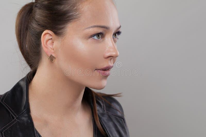 Young healthy woman. Beautiful face closeup.  stock photo
