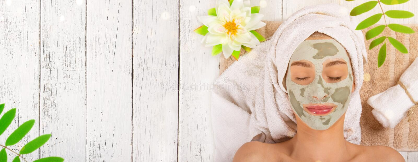 Young healthy woman with face mask. royalty free stock image