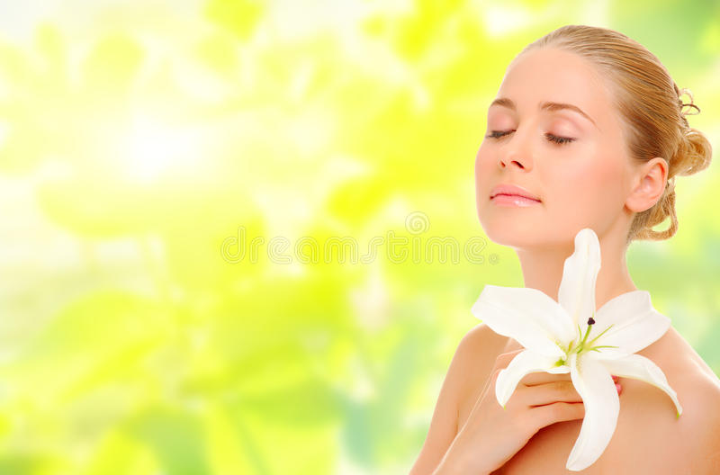 Download Young Healthy Woman With Flower Stock Photo - Image: 28974464