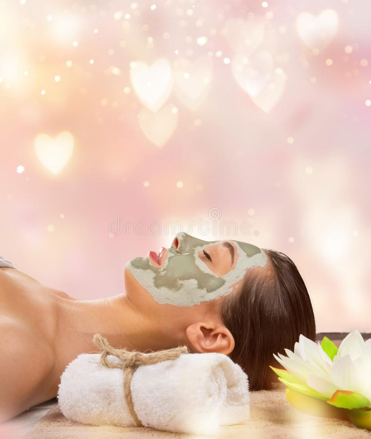 Young healthy woman with face mask. royalty free stock photos