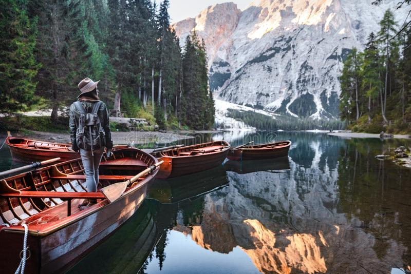 Young hiker in a boat royalty free stock photography