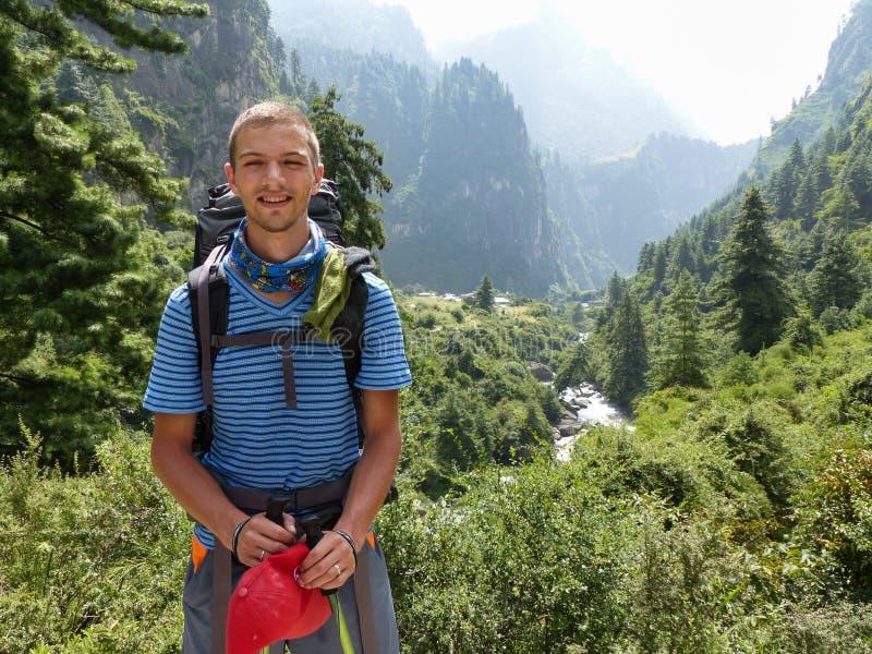 Young hiker. Marsyangdi river valley - Annapurna circuit trek in Nepal royalty free stock images