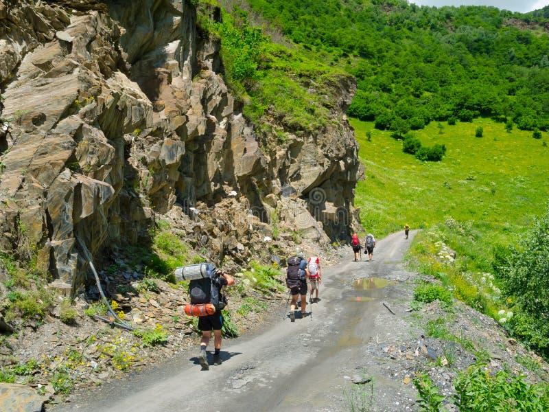 Download Young Hikers Trekking In Svaneti, Stock Photo - Image: 32712246