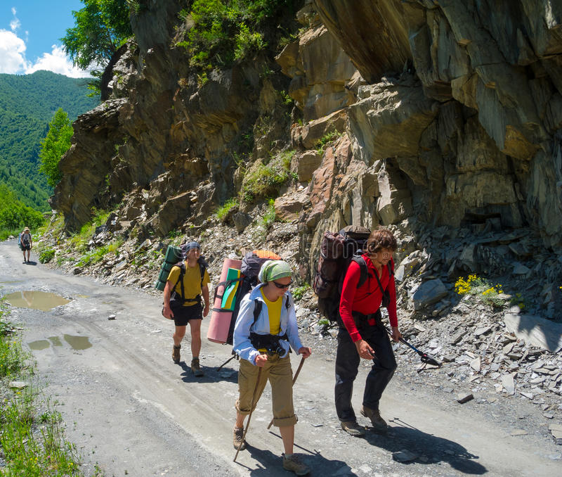 Download Young Hikers Trekking In Svaneti, Stock Photography - Image: 32712252