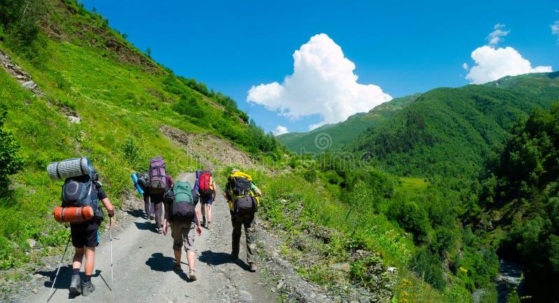 Download Young Hikers Trekking In Svaneti, Stock Photo - Image: 32712276
