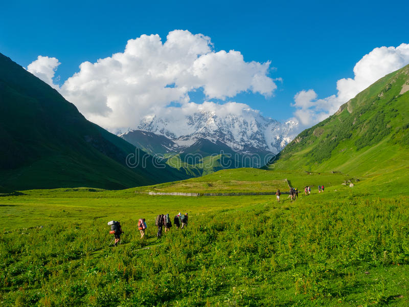 Download Young Hikers Trekking In Svaneti Royalty Free Stock Image - Image: 32712296