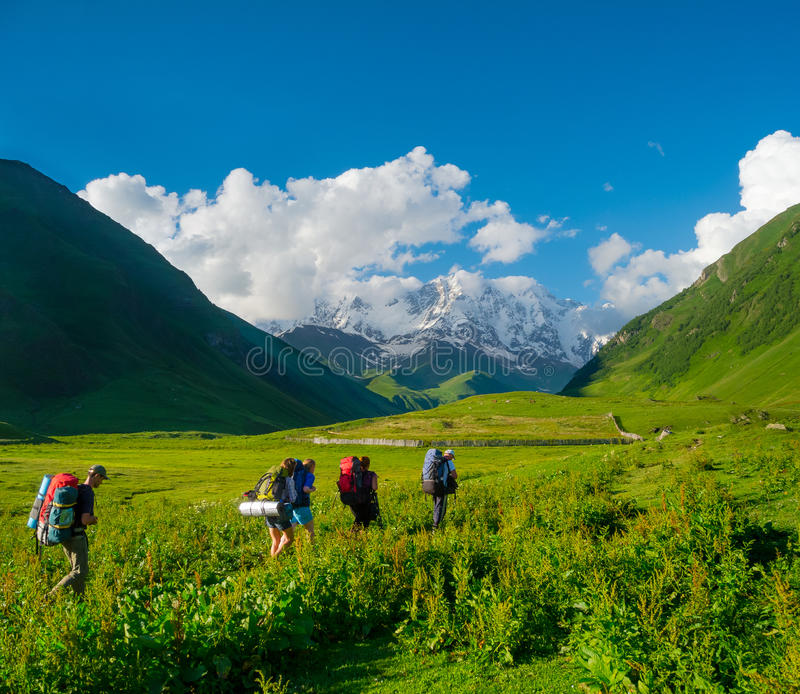 Download Young Hikers Trekking In Svaneti Stock Image - Image: 32712297