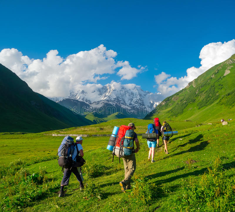 Download Young Hikers Trekking In Svaneti Stock Image - Image: 32712299