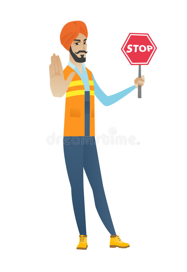 Young hindu builder holding stop road sign. stock illustration