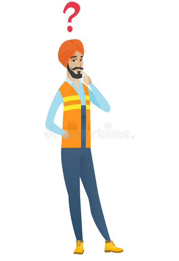 Young hindu builder with question mark. royalty free illustration