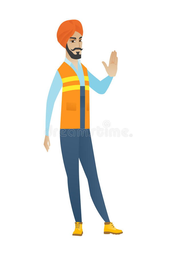 Young hindu builder showing stop hand gesture royalty free illustration