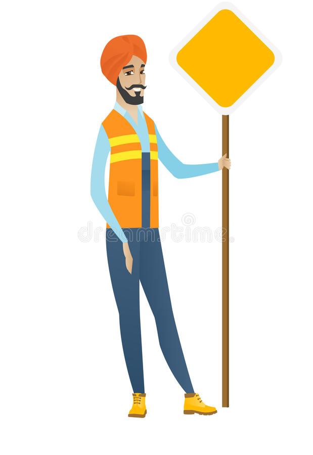 Young hindu road worker showing road sign. royalty free illustration