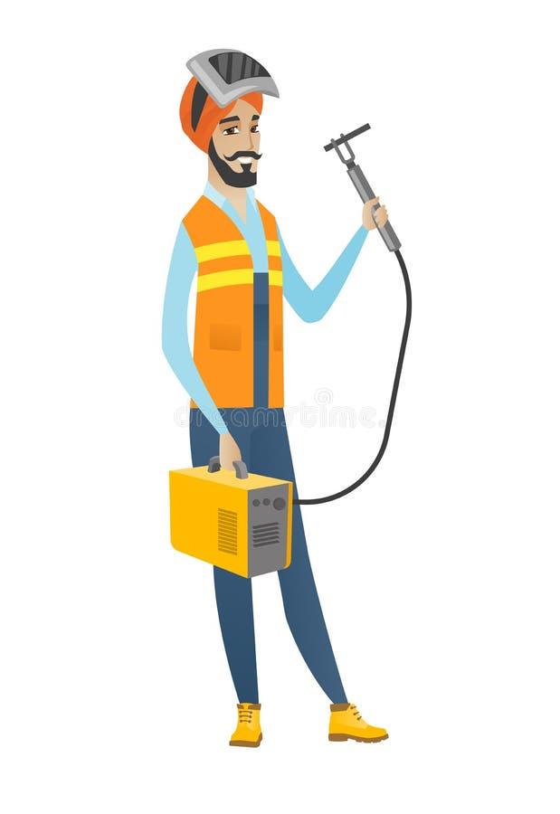 Young hindu welder holding gas welding machine. royalty free illustration