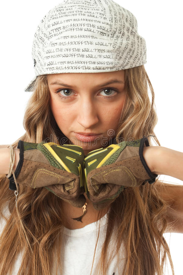 Download The young hip-hop girl stock photo. Image of portrait - 13505632
