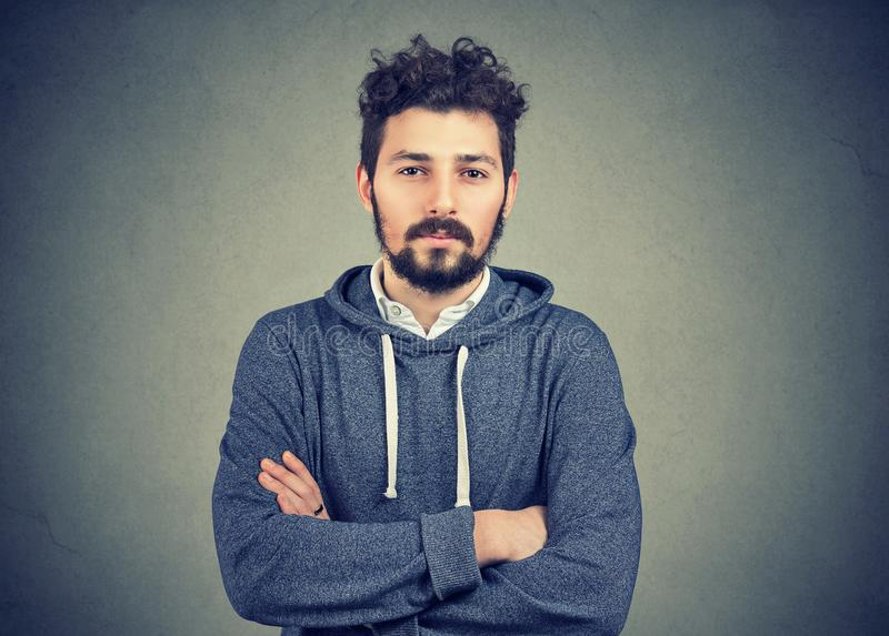 Young hipster beard man feeling confident stock photo