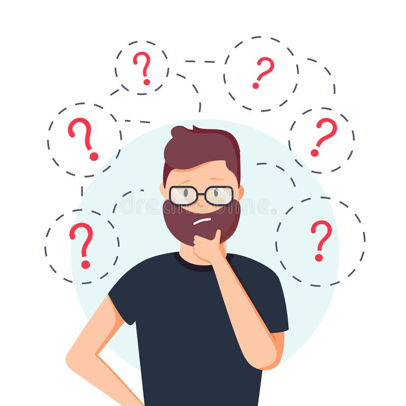 Young hipster business man thinking standing under question marks. Vector flat cartoon illustration character icon. royalty free illustration