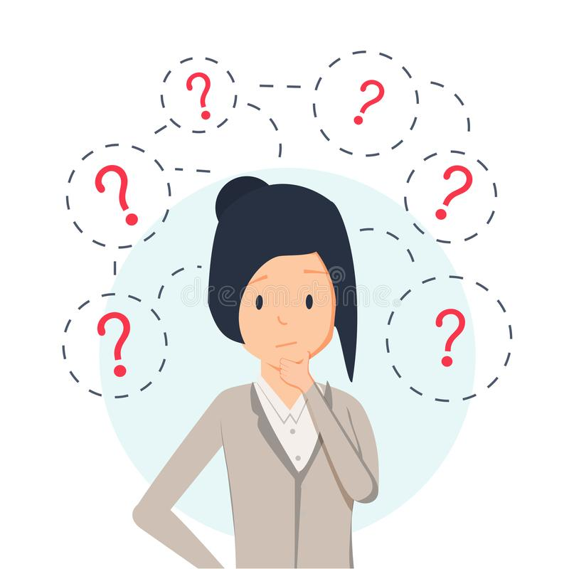 Young hipster business woman thinking standing under question marks. Vector flat cartoon illustration character icon. Business woman surrounded by question vector illustration