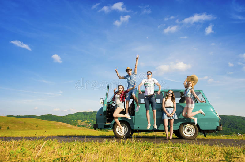 Young hipster friends on road trip. On a summers day royalty free stock photos
