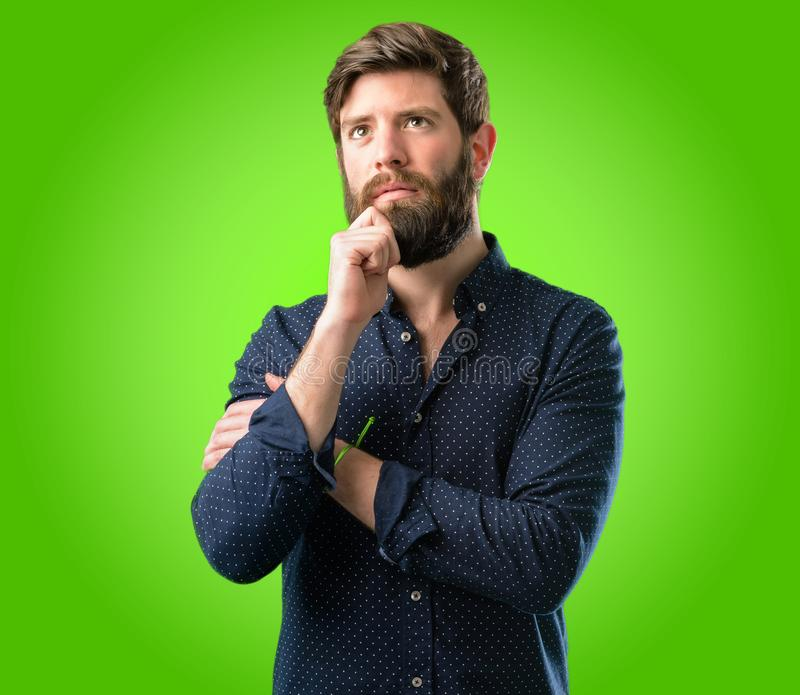 Young hipster man with beard and shirt stock photo