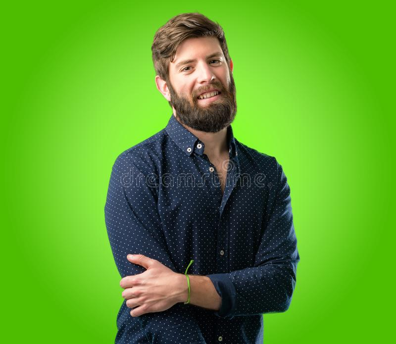 Young hipster man with beard and shirt royalty free stock photography
