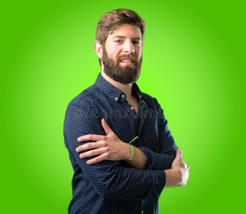 Young hipster man with beard and shirt royalty free stock photos