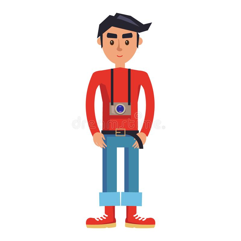 Young Hipster Man with Camera Cartoon Character royalty free illustration
