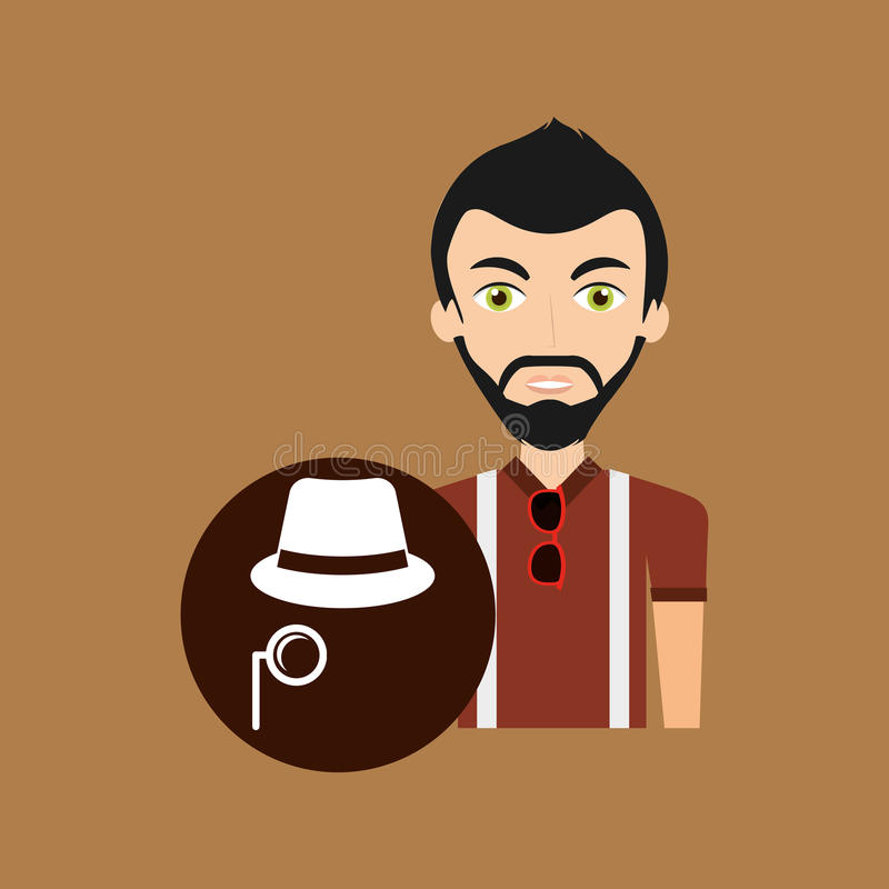 Young hipster man fedora hat and mustache royalty free illustration