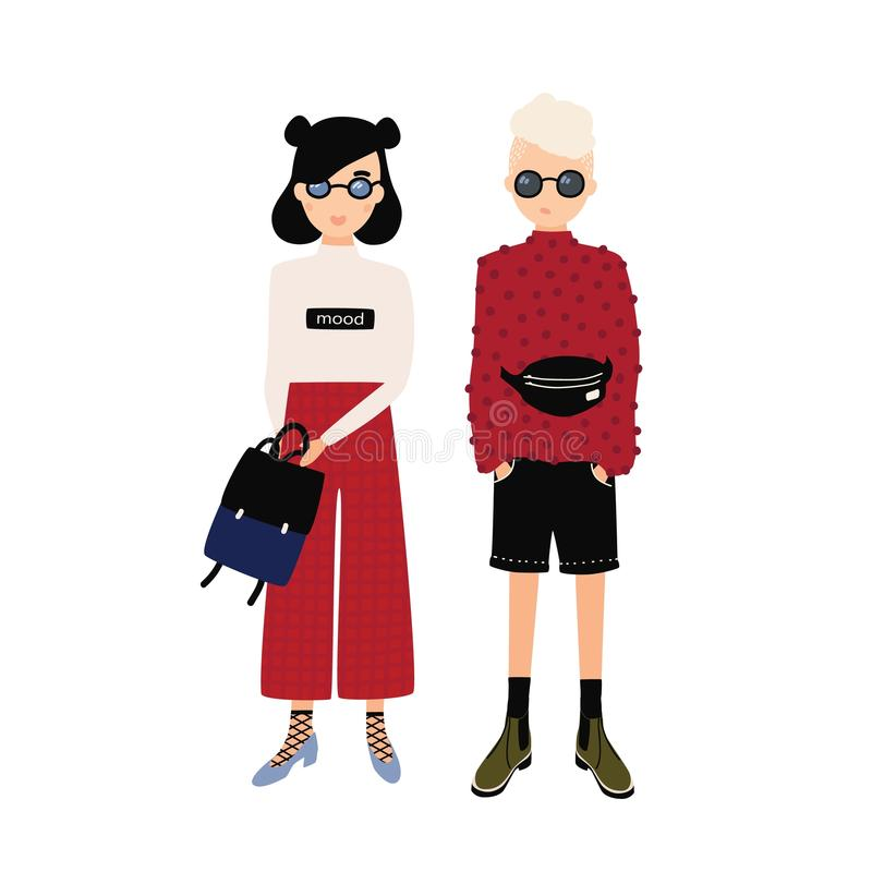 Young hipster man and woman wearing trendy outfits. Male and female cartoon characters dressed in modern fashionable. Clothes. Stylish dating couple. Colorful vector illustration