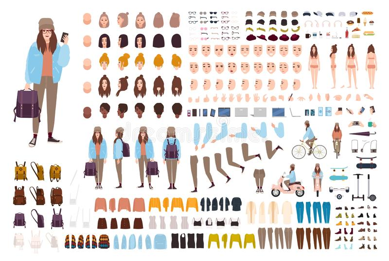 Young hipster woman creation kit. Collection of flat female cartoon character body parts, facial gestures, postures. Clothing, stylish accessories isolated on vector illustration