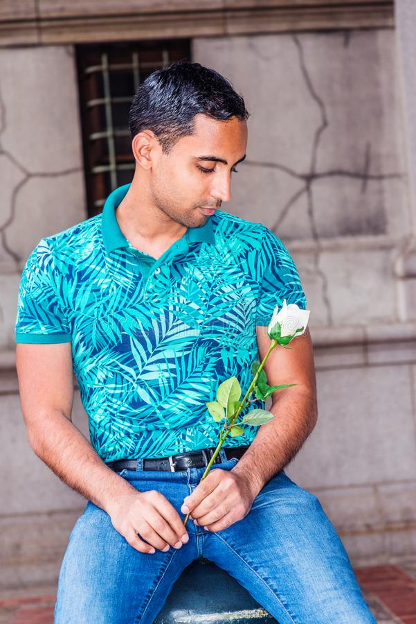 Young Hispanic American Man missing you, thinking about you royalty free stock photo