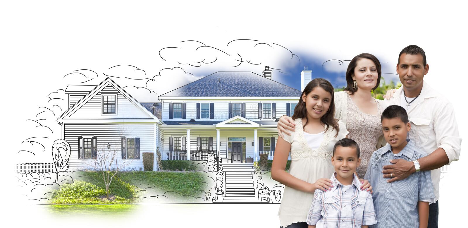 Young Hispanic Family Over House Drawing and Photo on White royalty free illustration