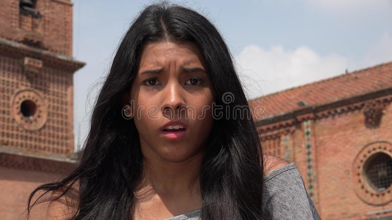 Startled People In Shock. A young hispanic female teen stock images