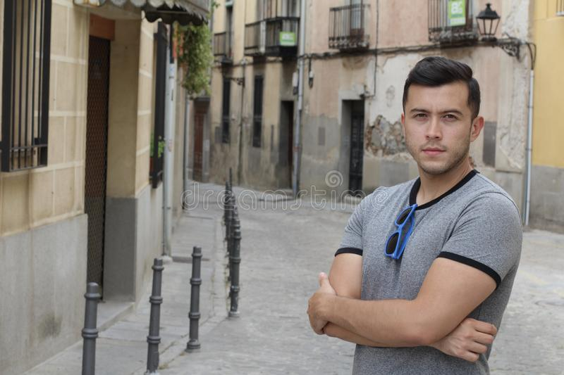 Young Hispanic male outdoors close up royalty free stock photos