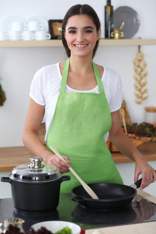 Young hispanic woman is cooking in the kitchen. Housewife fry the meat in a frying pan. royalty free stock photography