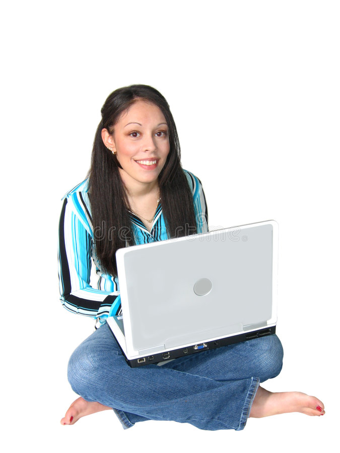 Young Hispanic Woman Laptop Stock Photography