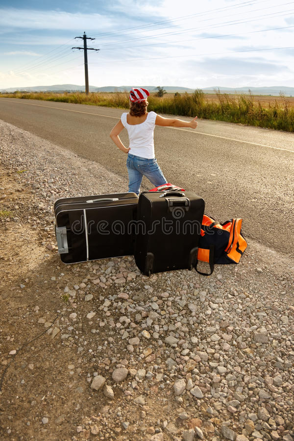 Young Hitch-hiker Girl Stock Photos