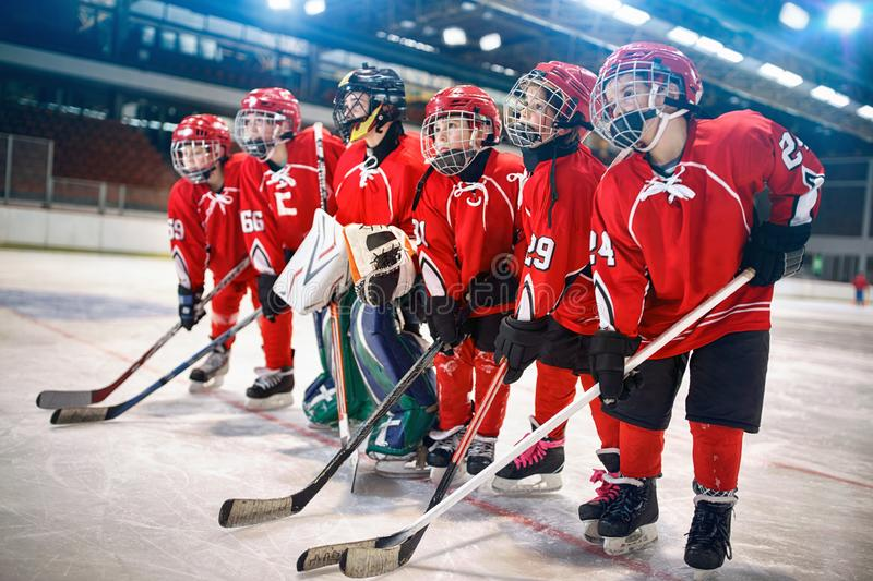 Young hockey team - children play hockey. Young hockey team - children play ice hockey stock photos