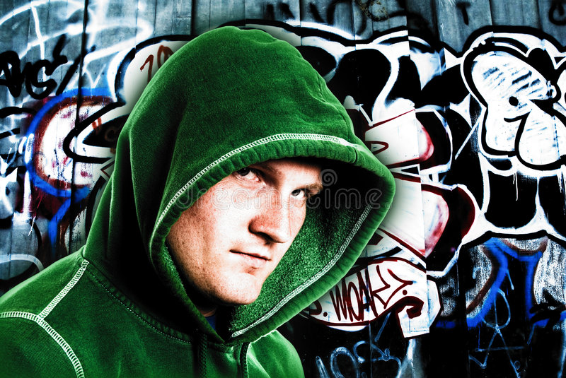 Young hooded male royalty free stock photo