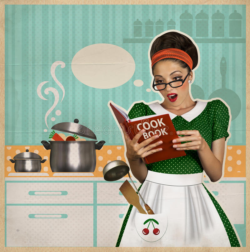 Retro Woman In Kitchen: Young Housewife In The Kitchen.Retro Card On Old Paper