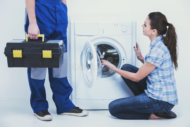 Repairman Servicing Washing Machine Stock Photo Image Of