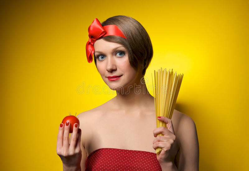 Young housewife in retro style stock photography