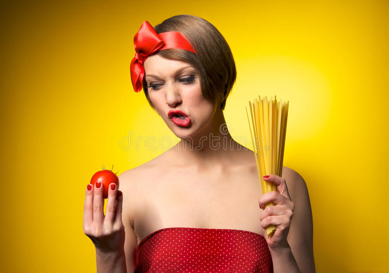 Young housewife in retro style stock photos
