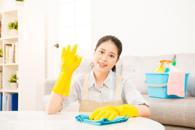 Young housewife showing okay gesture done royalty free stock photos