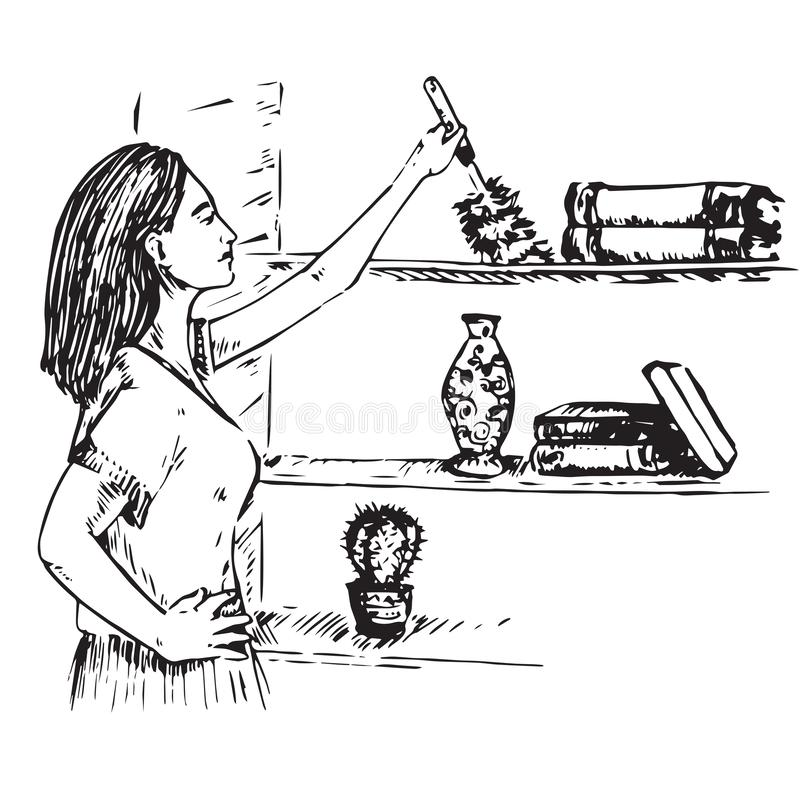 Young housewife wiping the dust with brush on the bookshelf vector illustration