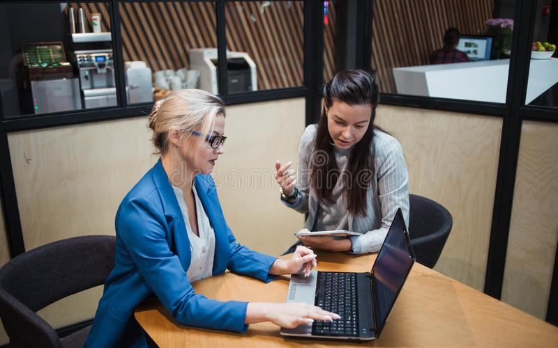 Young HR woman interviews a candidate for a job. Business meeting two young women at work discussing the project royalty free stock photo
